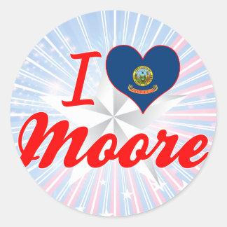 I Love Moore, Idaho Round Sticker