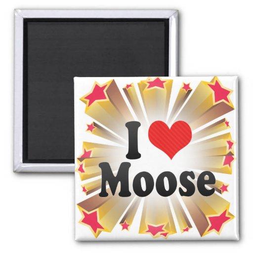 I Love Moose 2 Inch Square Magnet