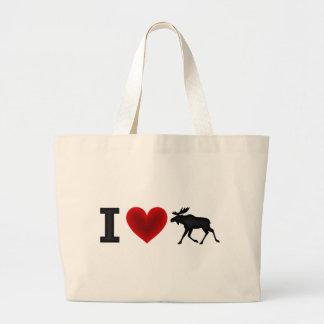 I Love Moose Tote Bags