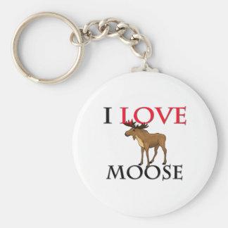 I Love Moose Basic Round Button Keychain