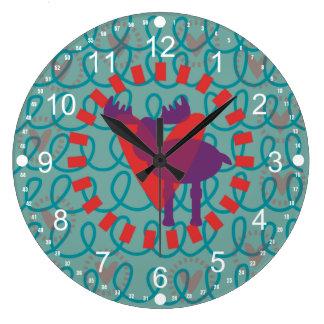 I love Moose Heart Doodle Nature Lover Design Large Clock