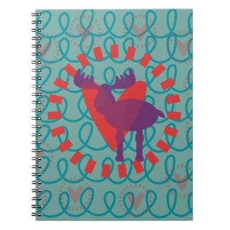 I love Moose Heart Doodle Nature Lover Design Notebook