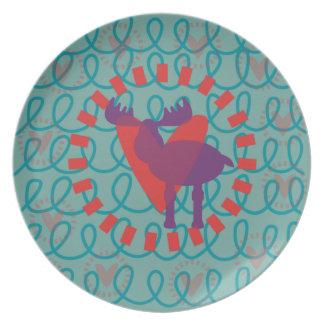I love Moose Heart Doodle Nature Lover Design Plates