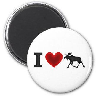 I Love Moose 2 Inch Round Magnet