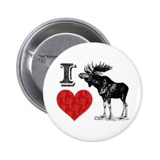 I Love Moose Pinback Button