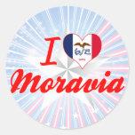 I Love Moravia, Iowa Round Sticker