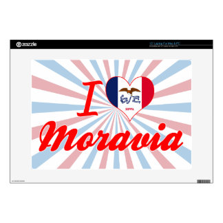 "I Love Moravia, Iowa Decals For 15"" Laptops"