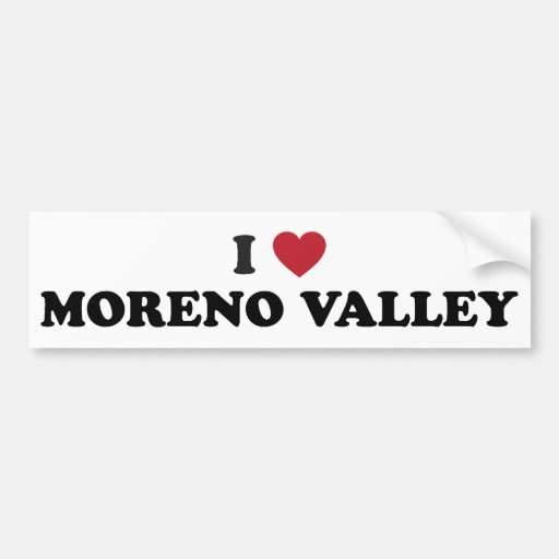 I Love Moreno Valley California Car Bumper Sticker
