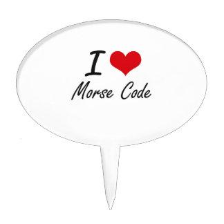 I Love Morse Code Cake Topper