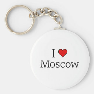 I love Moscow Basic Round Button Keychain