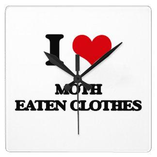 I Love Moth Eaten Clothes Square Wallclocks