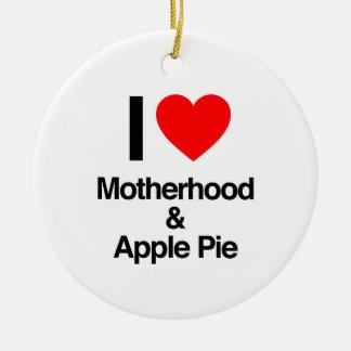 i love motherhood and apple pie christmas tree ornament