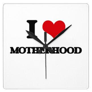 I Love Motherhood Square Wall Clock