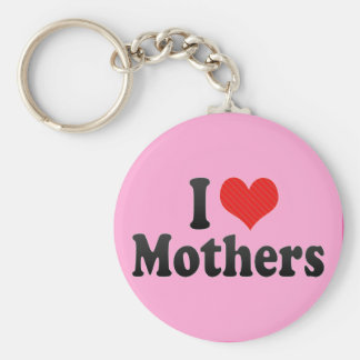 I Love Mothers Basic Round Button Keychain