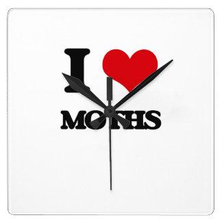 I Love Moths Square Wallclocks