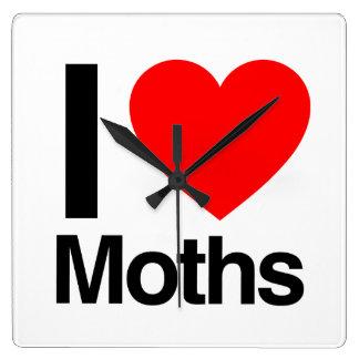 i love moths square wallclock