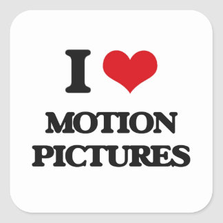 I Love Motion Pictures Square Stickers