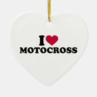 I love Motocross Ceramic Ornament
