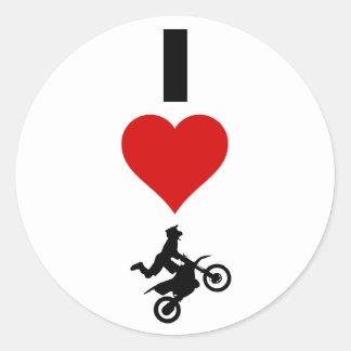 I Love Motocross (Vertical) Classic Round Sticker