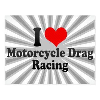 I love Motorcycle Drag Racing Postcard