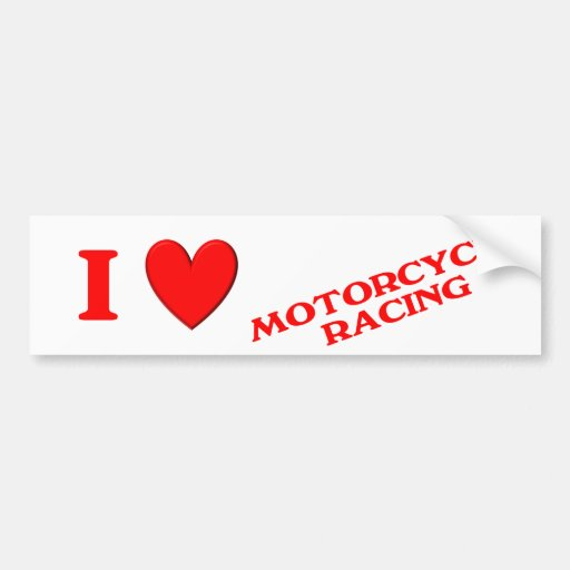 I Love Motorcycle Racing Car Bumper Sticker