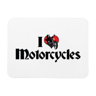 I Love Motorcycles Rectangular Photo Magnet