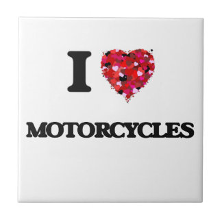 I Love Motorcycles Small Square Tile