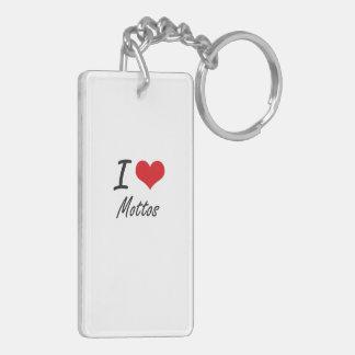 I Love Mottos Double-Sided Rectangular Acrylic Keychain