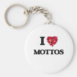 I Love Mottos Basic Round Button Keychain