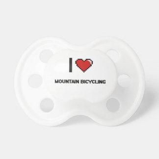 I Love Mountain Bicycling Digital Retro Design BooginHead Pacifier