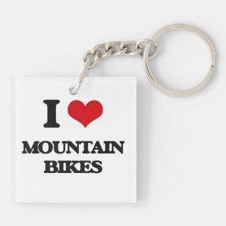 I Love Mountain Bikes Acrylic Key Chains