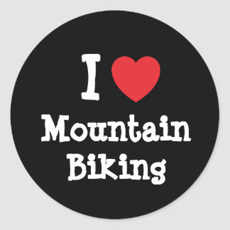 I love Mountain Biking heart custom personalized Classic Round Sticker