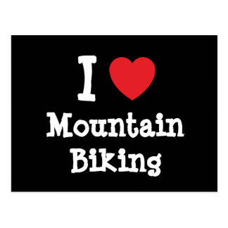 I love Mountain Biking heart custom personalized Postcard