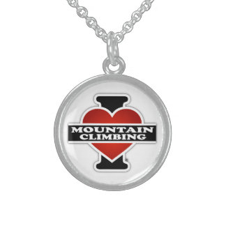 I Love Mountain Climbing Round Pendant Necklace