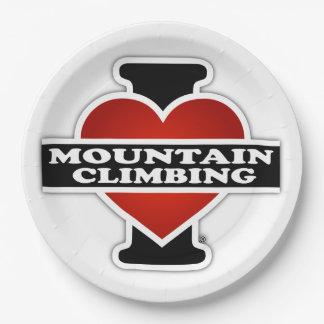 I Love Mountain Climbing Paper Plate