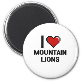 I love Mountain Lions Digital Design 2 Inch Round Magnet