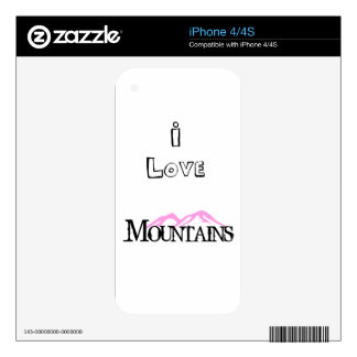 I Love Mountains Decals For iPhone 4