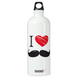 SIGG Traveller Water Bottle (0.6L) with I Love Moustaches design