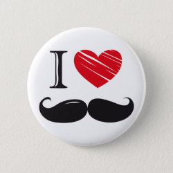 Round Button with I Love Moustaches design