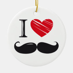 Circle Ornament with I Love Moustaches design