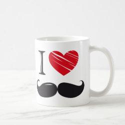 Classic White Mug with I Love Moustaches design