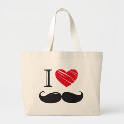 Jumbo Tote Bag with I Love Moustaches design
