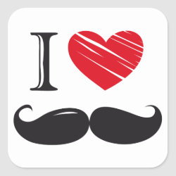 Square Sticker with I Love Moustaches design