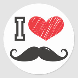 Round Sticker with I Love Moustaches design