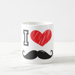 Classic White Mug with I Love Moustaches design