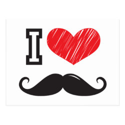 Postcard with I Love Moustaches design