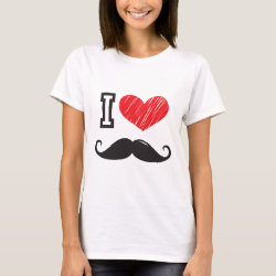 Women's Basic T-Shirt with I Love Moustaches design