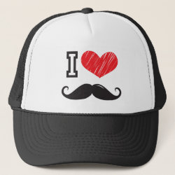Trucker Hat with I Love Moustaches design