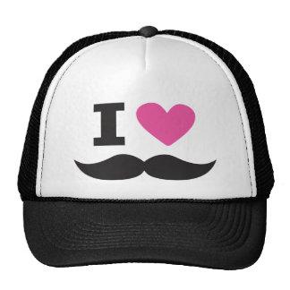 I Love Moustache - pink Hat