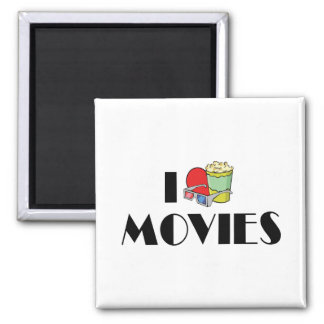 I Love Movies 2 Inch Square Magnet